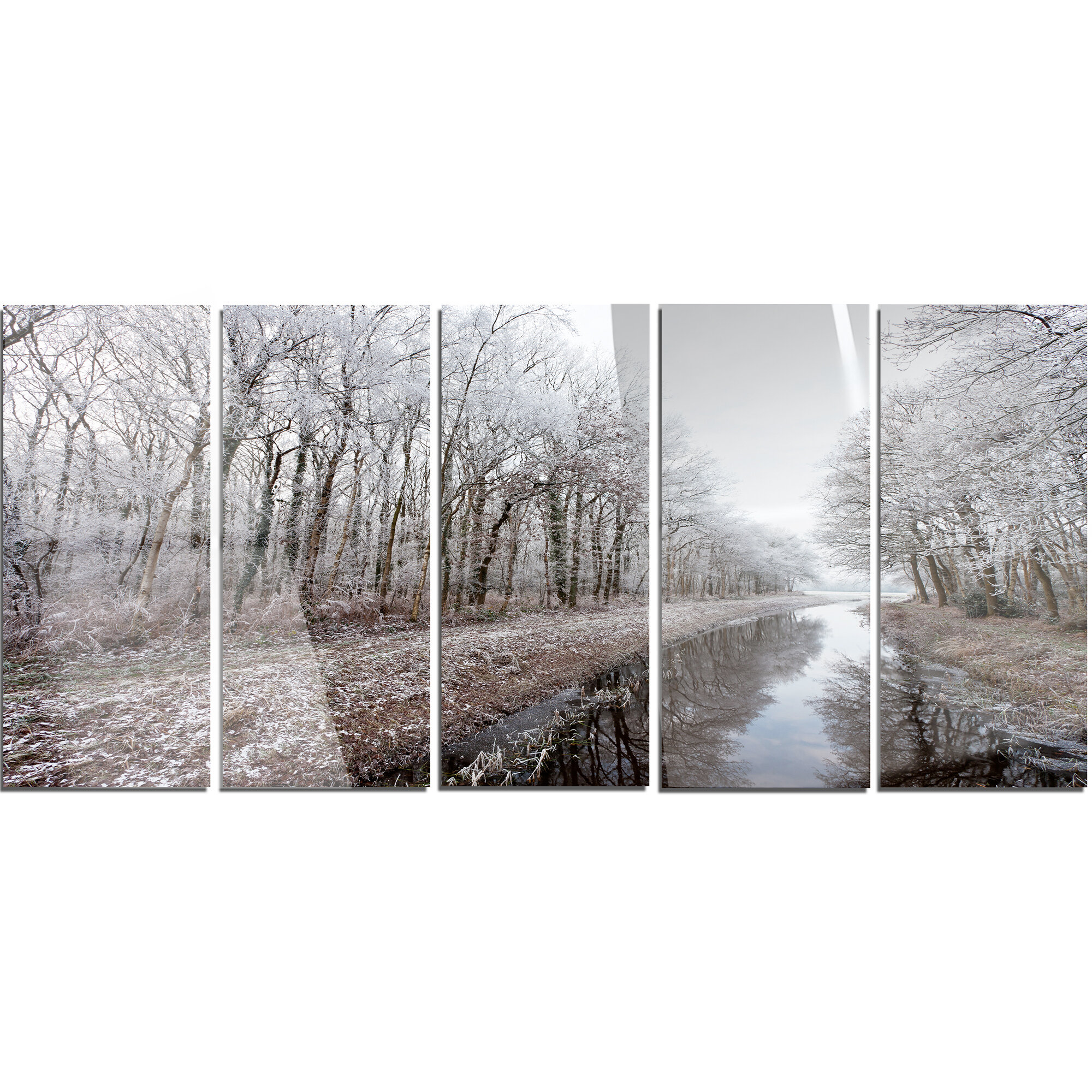 Designart Trees In White Winter Landscape 5 Piece Photographic Print On Metal Set Wayfair
