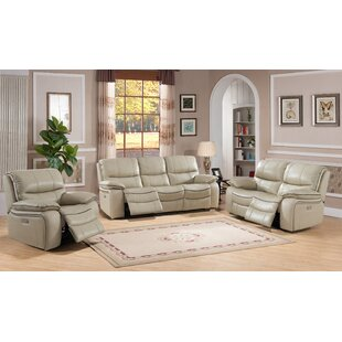 Deshaun Reclining 3 Piece Leather Living Room Set