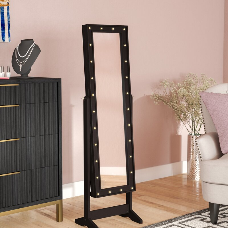 Everly Quinn Lorna Free Standing Jewelry Armoire with Mirror