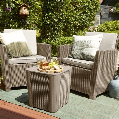 Berrios Balcony 3 Piece Bistro Set With Cushions by Highland Dunes Today Only Sale