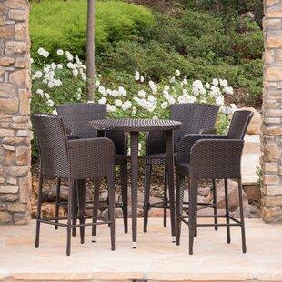 Salgado Outdoor Wicker 5 Piece Pub Table Set
