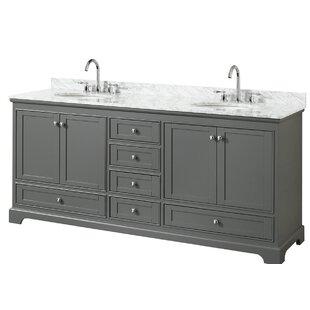 Deborah 80 Double Dark Gray Bathroom Vanity Set By Wyndham Collection