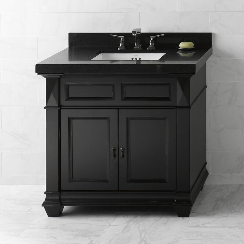 "Bathroom Vanity Black ronbow torino 36"" bathroom vanity cabinet base in antique black"