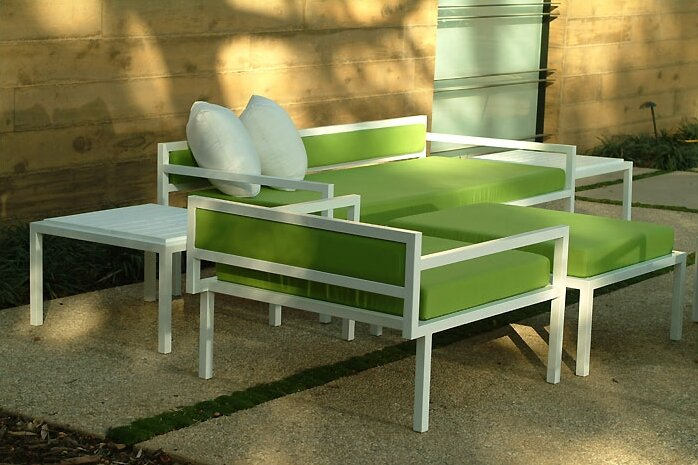 Modern Outdoor Talt Low 5 Piece Deep Seating Group With