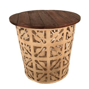 Outdoor/Indoor Drum Flower Metal Side Table