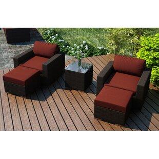 Harmonia Living Arden 5 Piece Teak Seating Group with Sunbrella Cushions