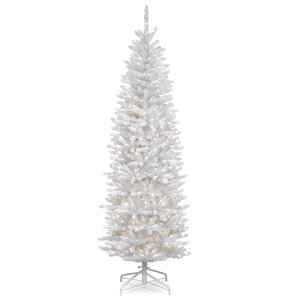 kingswood hinged pencil white fir artificial christmas tree with clear lights with stand - White Outdoor Christmas Tree
