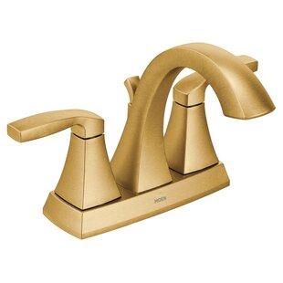 Voss Two Handle Centerset High Arc Bathroom Faucet with Optional Pop-Up Drain ByMoen