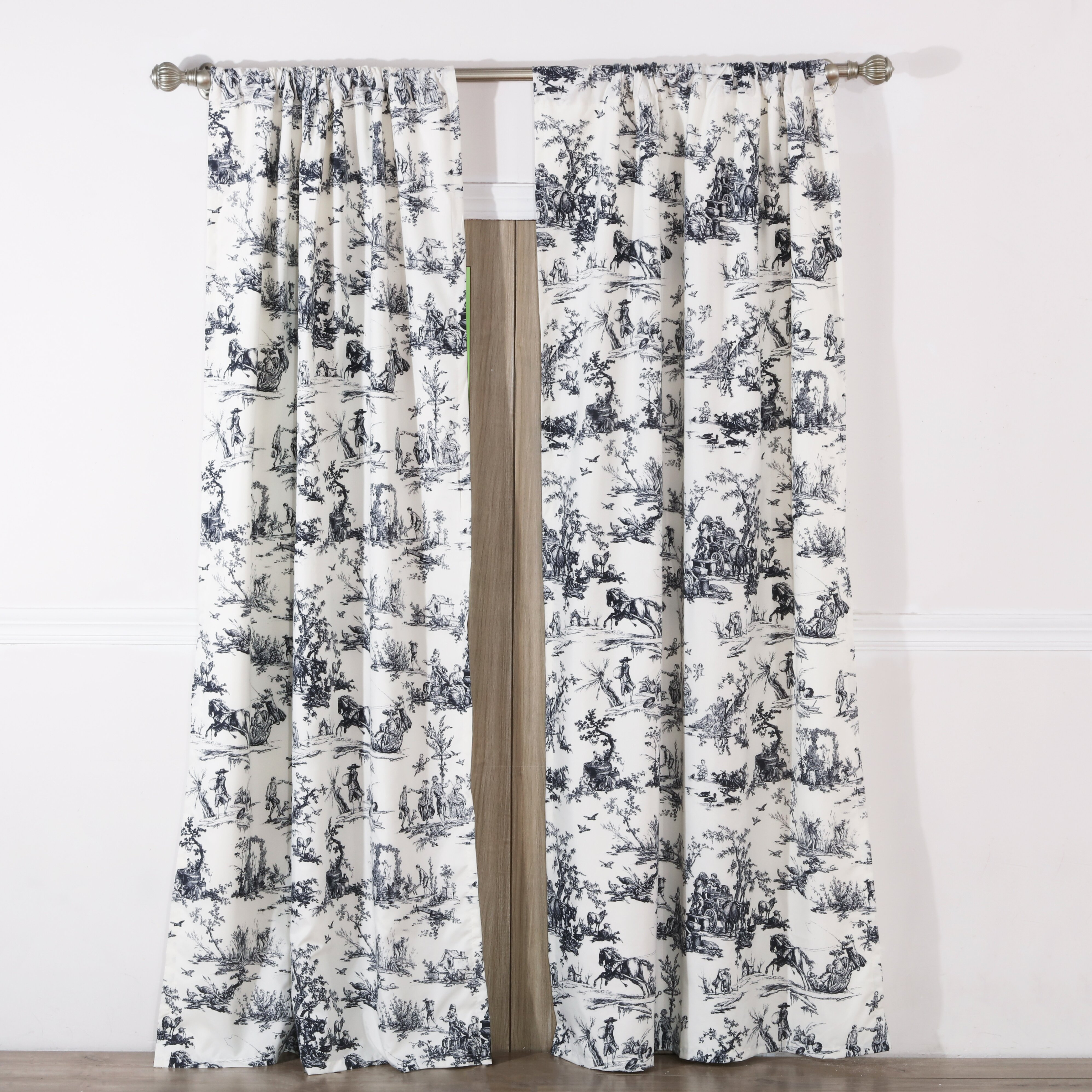The Twillery Co. Moya Toile Semi-Sheer Rod Pocket Curtain Panel Pair ...