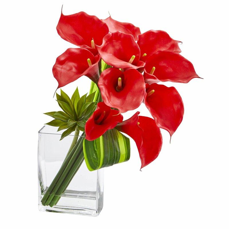 Latitude Run Calla Lily Floral Arrangement In Vase Wayfair
