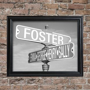 U0027Street Signu0027 Framed 1 Piece Photographic Print Set In Black And White