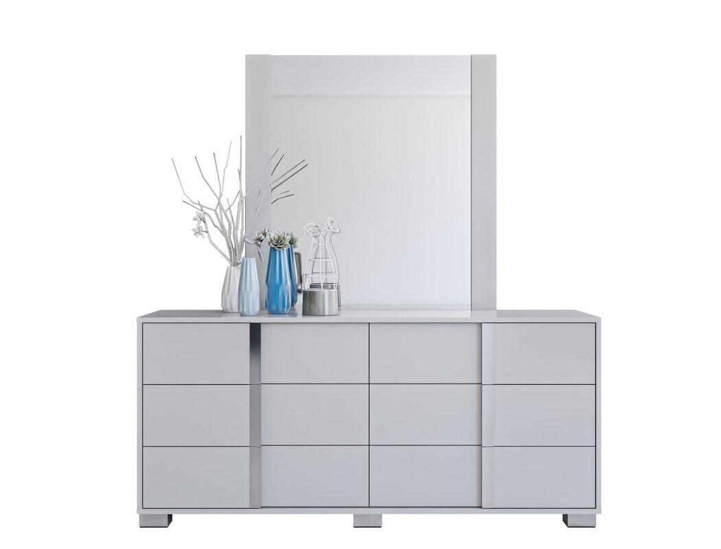 Orren Ellis Gower 6 Drawer Double Dresser with Mirror
