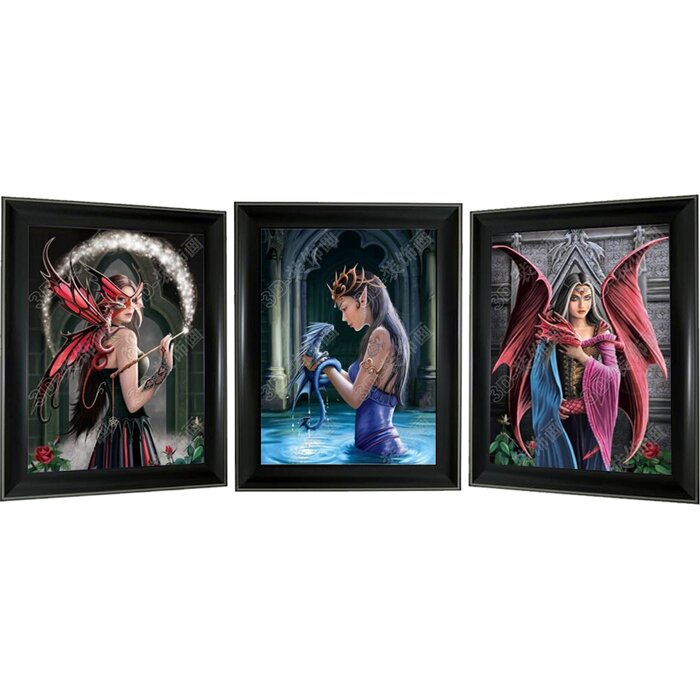 MEDUSA /& FAIRIES 3D TRIPLE IMAGE FRAMED PICTURE 3 pictures in one ART