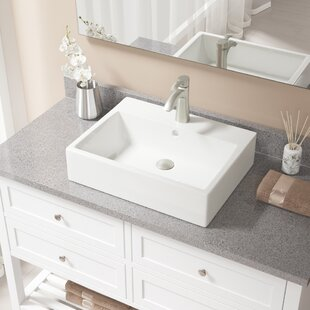 Affordable Vitreous China Rectangular Vessel Bathroom Sink with Faucet and Overflow By MR Direct