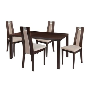 Adelina 5 Piece Solid Wood Dining Set by Ebern Designs