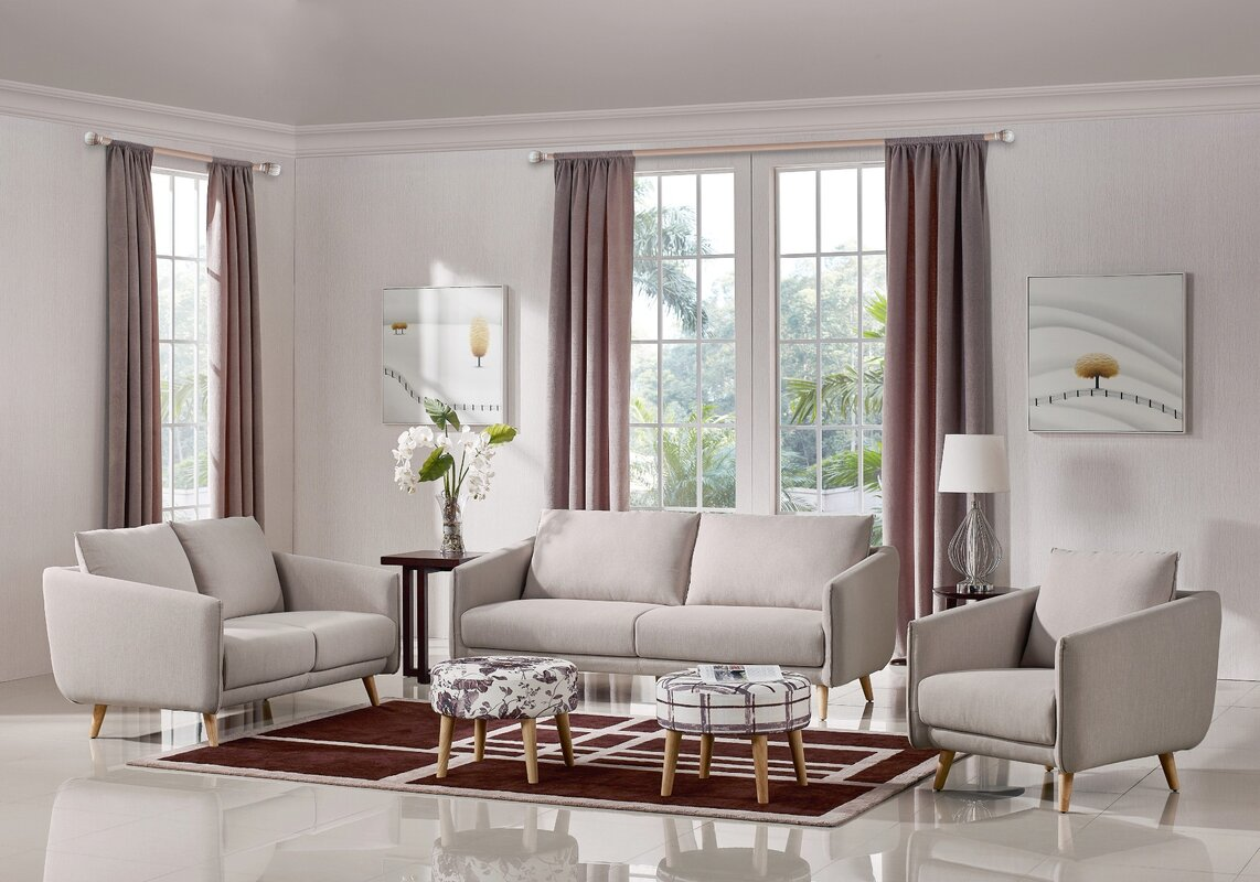 Ivy Bronx Alivia 3 Piece Living Room Set & Reviews | Wayfair