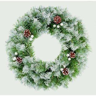 Christmas With Snow Tips And Cones 50cm Wreath By The Seasonal Aisle