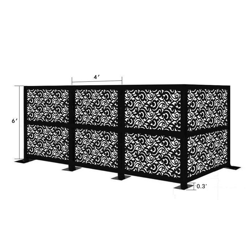 E Joy 4 5 Ft H X 12 5 Ft W Freestanding Modular Metal Privacy Screen Wayfair