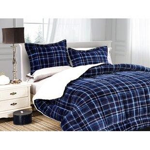 Mayna Luxury Plaid Sherpa Comforter Set