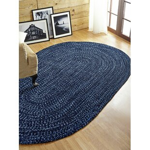 Top Chenille Reverible Tweed Braided Navy/Smoke Blue Indoor/Outdoor Area Rug By Better Trends