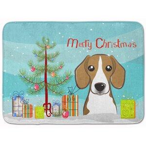 Christmas Tree and Beagle Memory Foam Bath Rug
