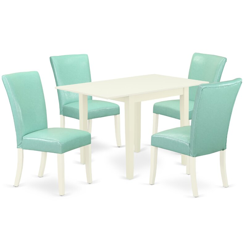 Winston Porter Dining Room Table Set 3 Pc 2 Parson Dining Chairs And A Wooden Table Oak Finish Solid Wood Autumn Green Colour Pu Leather Wayfair Ca