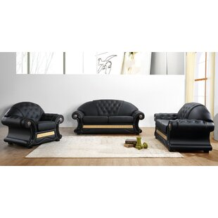 Agee 3 Piece Leather Living Room Set by Rosdorf Park