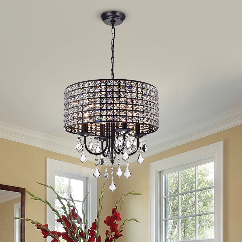 Lyndon 4 light crystal chandelier