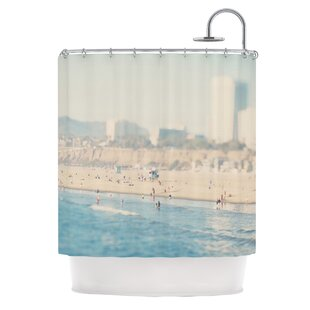 Santa Monica Beach by Laura Evans Single Shower Curtain