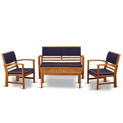 Keven 4 Piece Patio Dining Set by Longshore Tides Herry Up