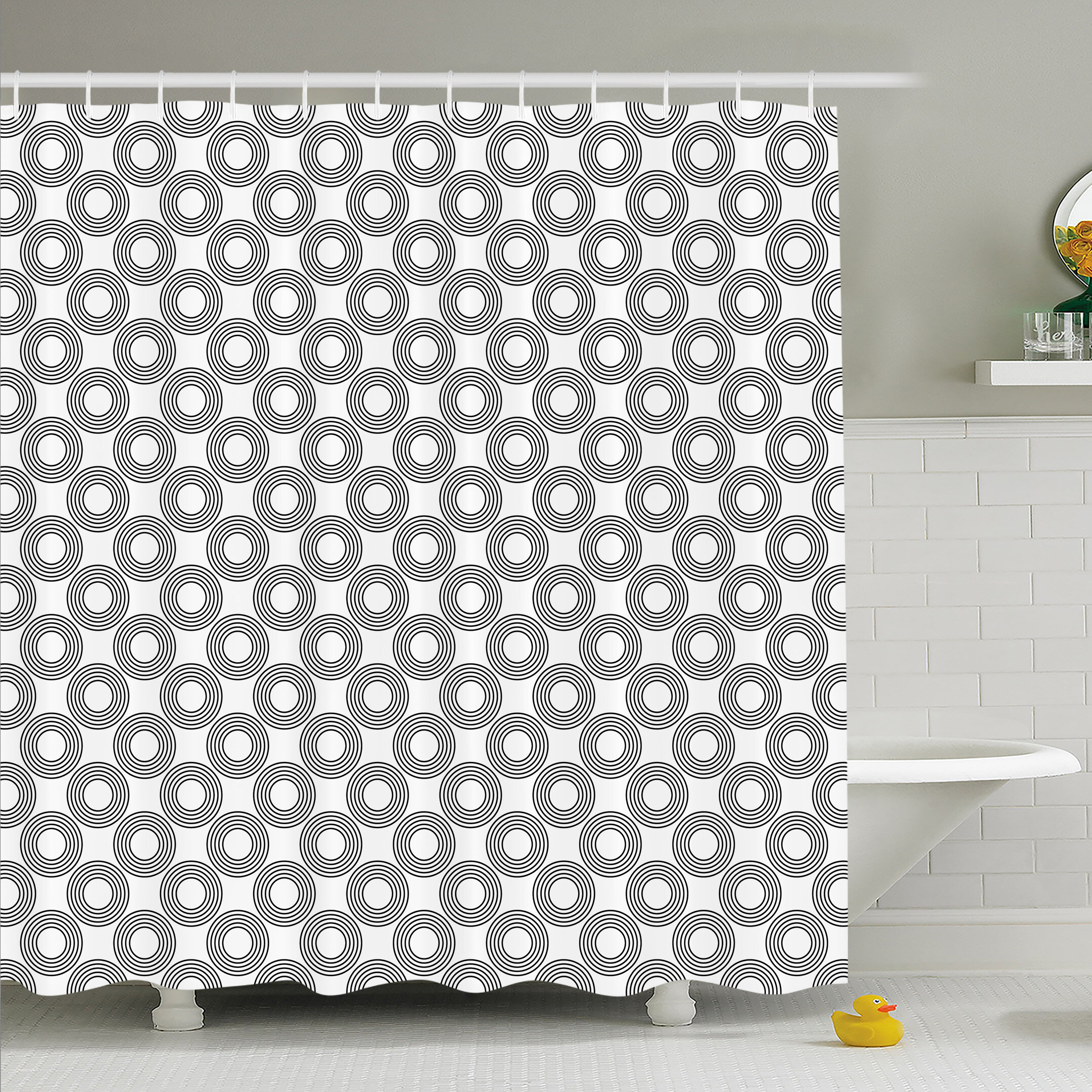 Ambesonne Geometric Circle Vinyl Records Inspired Concentric Rings With Curve Grids Shower Curtain Set Wayfair