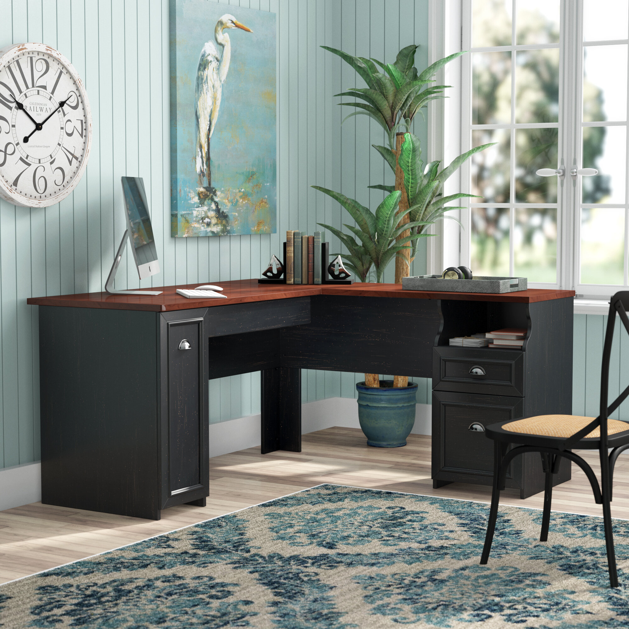 shaped office with desks desk workstation image products ca tray keyboard computer homcom aosom l