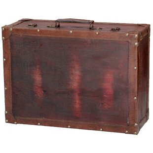 Vintiquewise Wooden Trunk with Leather Trim