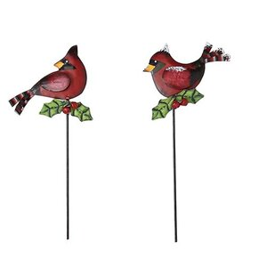 2 Piece Metal Cardinal Garden Stake Set (Set of 4)