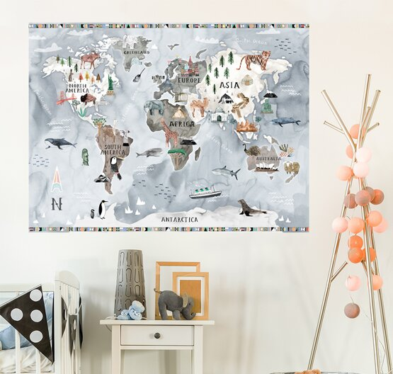 Customizable Watercolor Map Wall Decal