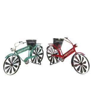 Grullon 2 Piece Metal Bicycle Planter Set