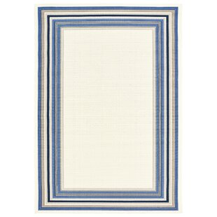 Top Beechmoor Ivory/White Indoor/Outdoor Area Rug By Breakwater Bay