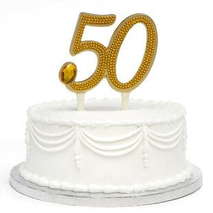 Gilded 50th Anniversary Cake Topper