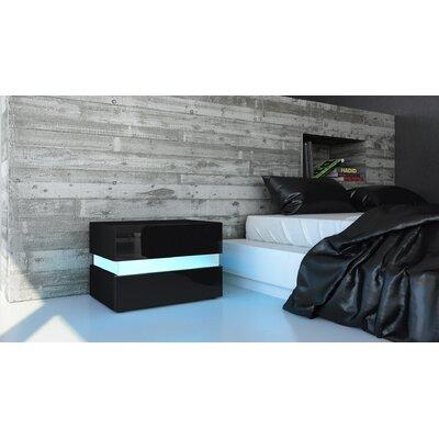 Nachttisch Flow | Schlafzimmer > Nachttische | Schwarz - Gloss - Matt - Weiß | Filz | Vladon