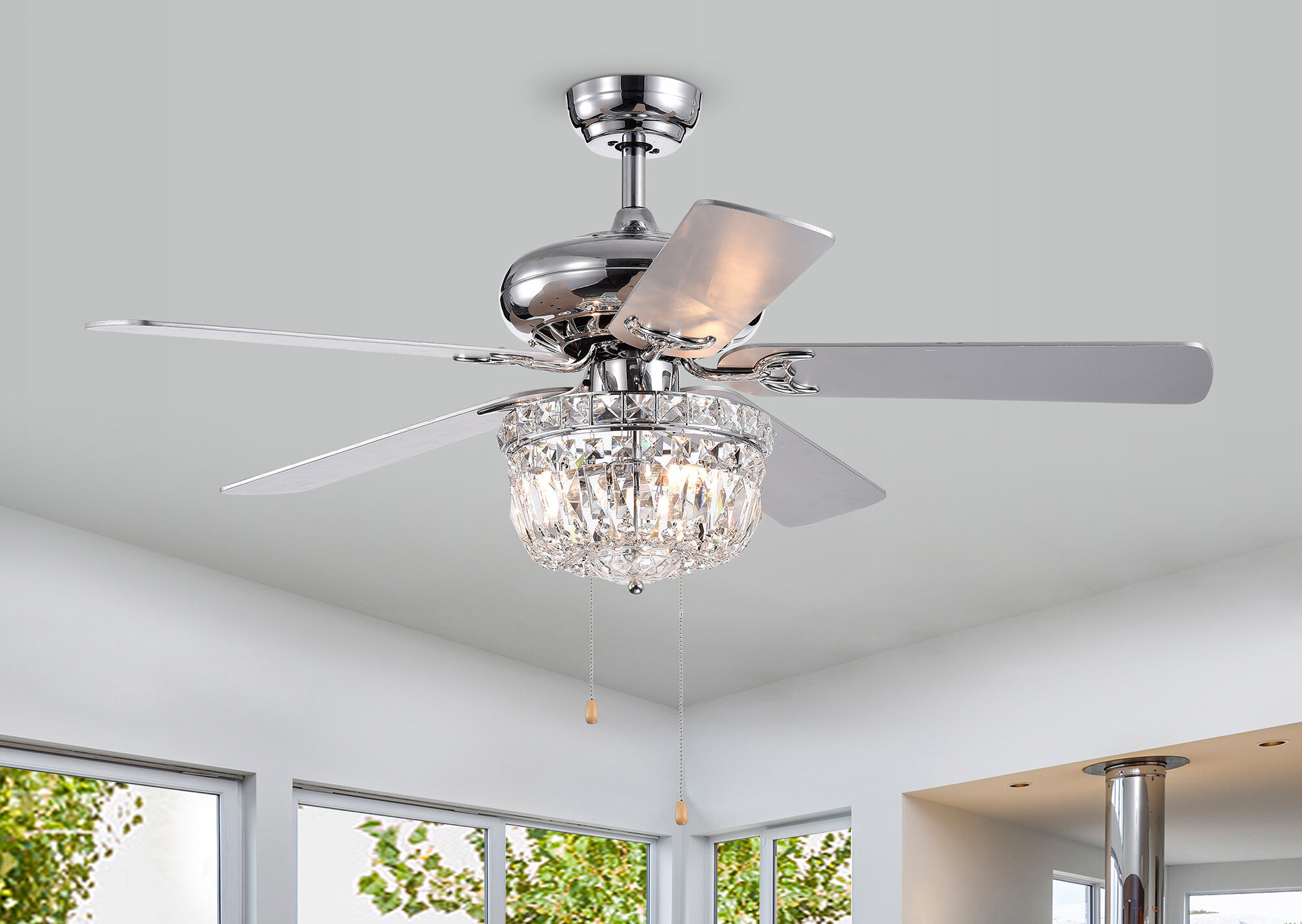 House Of Hampton 52 Rettig 5 Blade Crystal Ceiling Fan With Pull Chain And Light Kit Included Wayfair