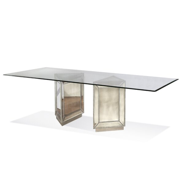 sc 1 st  Wayfair & Bassett Mirror Hattie Mirrored Dining Table u0026 Reviews | Wayfair