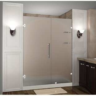 Nautis GS 58 x 72 Hinged Completely Frameless Shower Door with Shelves by Aston