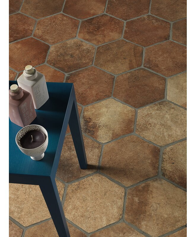 "Newberry Hexagon 10"" x 11"" Porcelain Field Tile in Cotto"