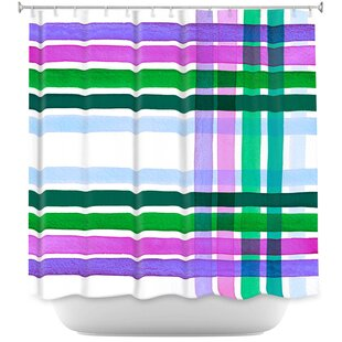 Plaid Stripes II Single Shower Curtain by East Urban Home Top Reviews