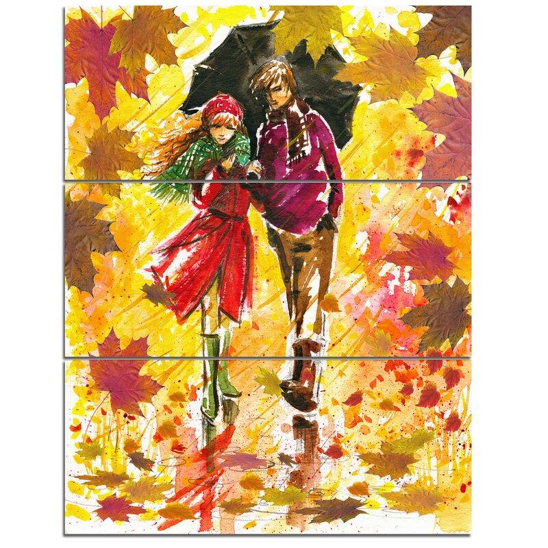 DesignArt Autumn Walk of Couple - 3 Piece Wall Art on Wrapped Canvas ...