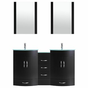 Peterman Modern 84 Double Bathroom Vanity Set with Mirror by Orren Ellis