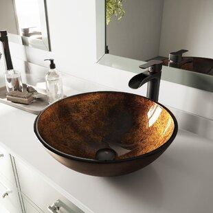 Inexpensive Glass Circular Vessel Bathroom Sink By VIGO