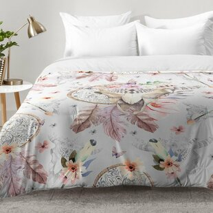 Bohemian Dreamcatcher and Skull Floral Comforter Set by East Urban Home