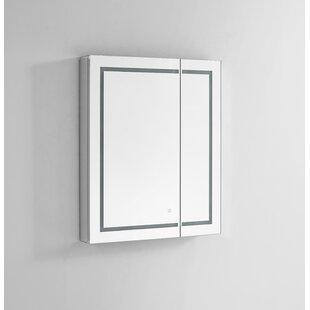 Donnie 30 x 36 Recessed or Surface Mount Frameless Medicine Cabinet with 4 Adjustable Shelves and LED Lighting ByOrren Ellis