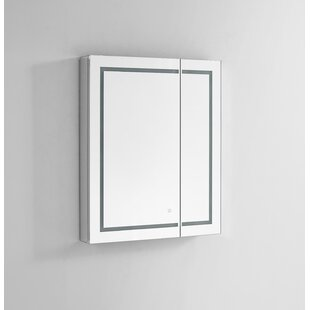 Compare prices Donnie 36 x 30 Recessed or Surface Mount Frameless Medicine Cabinet with 3 Adjustable Shelves and LED Lighting By Orren Ellis